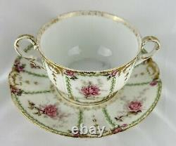 Limoges Bullion cup and saucer with lid soup flowers gold France porcelain