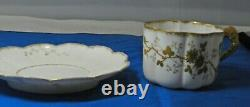Limoges Elite Bawo Dotter Cup and Saucer Gilded Flowers Scalloped 1891-1900