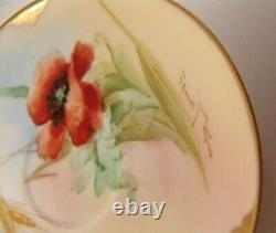 Limoges France Tea Cup & Saucer Red Poppy Flower Green Gold Hand Painted