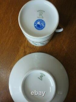 Limoges / Raynaud & Co. 4 Coffee Cups / Cans & Saucers Blue Flowers & Gilt