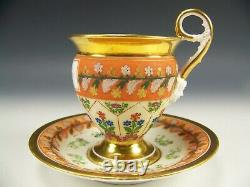 Lovely Old Paris Hand Painted Flowers & Gold Footed Cup & Saucer