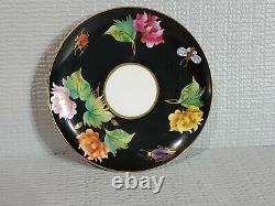 Lovely Rare Antique Vintage Zsolnay Set of Tea Cup Saucer Flower Insects Hungary
