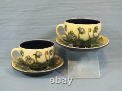 MOORCROFT ASHWOOD HEPATICA TUBELINE FLOWER CUP & SAUCER EMMA BOSSONS c1999