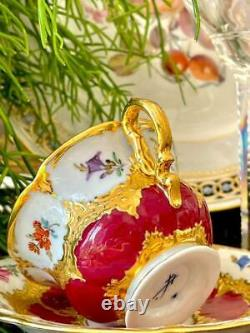 Meissen Antique Coffee Cup and Saucer Baroque Flowers and Gilding