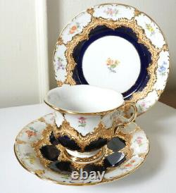 Meissen B-FORM Royal Blue/Gold withFlowers Cup/Saucer/Plate TRIO Mint/Unused