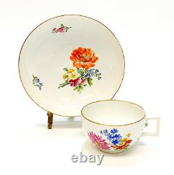 Meissen Marcolini Germany Hand Painted Porcelain Cup & Saucer, Orange Flower