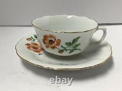 Meissen Porcelain Cup Saucer Crossed Swords. Deutsche Blueme. Flowers. Antique