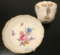 Meissen Porcelain Hand Painted Flower & Insects Tea Cup Saucer Demitasse