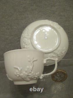 Meissen Porcelain (childs) Blanc de Chine, Prunus Blossom Cup & Saucer 1740's