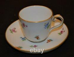 Meissen Scattered Flowers Demitasse Gold Trim Cup and Saucer