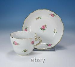 Meissen Scattered Flowers Red Roses Mocha Cup & Saucer