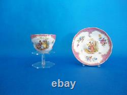 Meissen flower pattern Tea cup and saucer porcelain ANTIQUE