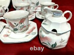 Mikasa Continental Silk Flowers Lot Of 20 Pieces Cups Saucers Bowls Sugar Cream