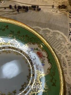 Minton Green Coffee Tea Cup Saucer HP Raised Flower Collamore 48132 #2
