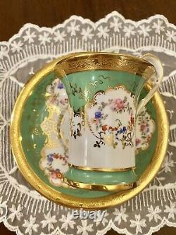 Minton Green Coffee Tea Cup Saucer HP Raised Flower Collamore 48132 #4
