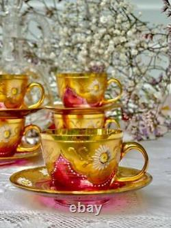 Moser 5 splendid Cup and Saucers Cranberry Gold and flowers