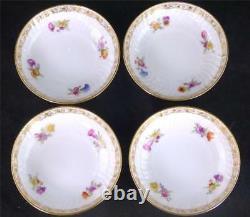 N752 Four Antique Vintage Kpm Berlin Porcelain Cups & Saucers Flowers Gilding