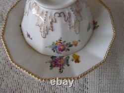 NYMPHENBURG Bavaria PERL Set 4 DODECAGON DEMITASSE CUP SAUCER SETS Flowers #982