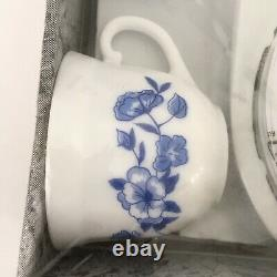New Arcopal Coffee Cups & Saucers 12 Pc Floral Pattern Nib! Made In France