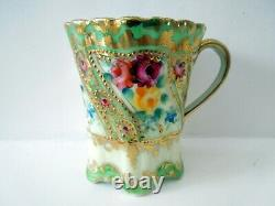 Nippon Chocolate Cup Saucer Heavy Gilding Beads Flowers Ruffled Rims Fluted HP