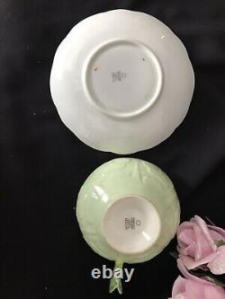 No Repairs Star Paragon Flower Handle Tea Cup & Saucer Mint Green