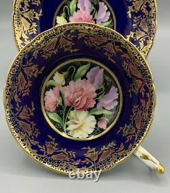 PARAGON Double Warrant Cobalt Blue Gold Sweet Pea Flowers Cup Saucer Set Mint