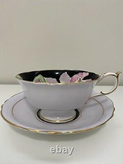 PARAGON HAND PAINTED TEA CUP & SAUCER BLACK And Flower INTERIOR Double Warrant