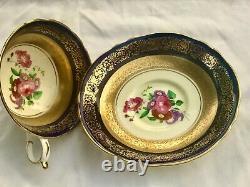 PARAGON Tea Cup & Saucer Cobalt Blue Gold Rose Flower Bouquet Double Warrant