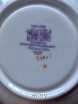 Paragon Black Pink Floating Flowers Pedestal Tea Cup Saucer Set Rare READ