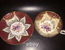 Paragon Burgundy And Gold Trim Footed Tea Cup & Saucer Fruits & Flowers F144k