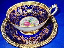 Paragon Fancy Cobalt Blue Gold Summer Flowers Fine Bone China Cup & Saucer