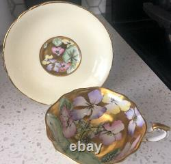 Paragon Fine Bone China. Cup And Saucer Gold And Yellow flower Heavy Gold