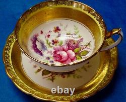 Paragon Gorgeous Heavy Gold Flowers Fine Bone China Cup & Saucer