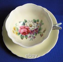 Paragon Hand Painted Flowers & BUTTERFLY Handle Cup & Saucer Light Yellow Green