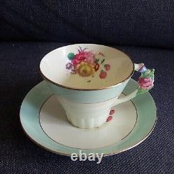 Paragon Pale Aqua Flower Handle Tea Cup & Saucer Set Art Deco