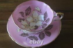 Paragon Pink White Dogwood Blossom Flowers Gold Teacup Tea Cup Saucer
