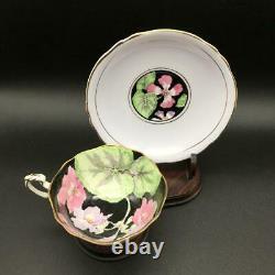 Paragon Purple Tea Cup & Saucer Set Cabbage Rose Pansy Flowers Dbl Warrant Cs99