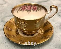 Paragon R Johnson Cup & Saucer Gold Cabbage Rose Flowers Signed Appt To Majesty