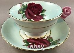 Paragon Rose / Flower Handled Cup and Saucer Double Warrant