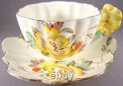 Paragon Star Gloire de Dijon Flower Handle Bone China Cup & Saucer Cond. Issues