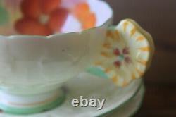 Paragon TRIO Geranium Pansy Flower handle teacup saucer plate star mark tea cup