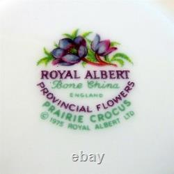 Provincial Flowers Royal Albert Prairie Crocus Tea Cup, Saucer and Plate Trio