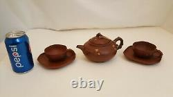 R- Yixing Clay Tea Set Teapot Cups Saucers Chinese Flowers Floral