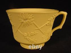 RARE EARLY 1800s BAMBOO FLOWER CUP & SAUCER SIGNED WEDGWOOD YELLOW WARE