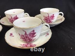 RARE HEREND RASPBERRY FLOWER SET 5 DEMITASSE chocolate cappuccino CUP SAUCER