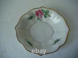RRR RARE Antique Meissen Porcelain Cup & Saucer Hand Painted Flowers Roses