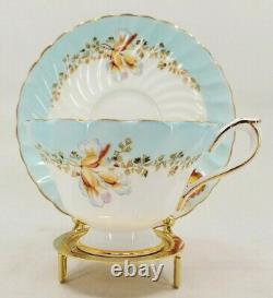 Rare Aynsley Tea Cup Orchid Flower Swirl Light Blue White 1934 Back Stamp
