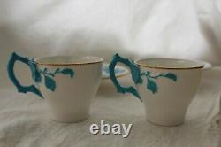 Rare Bodley Turquoise Relief Molded Blossom, Porcelain withGold Trim, Cup & Saucer