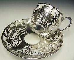 Rare Kpm Flower Silver Overlay Demitasse Cup Saucer