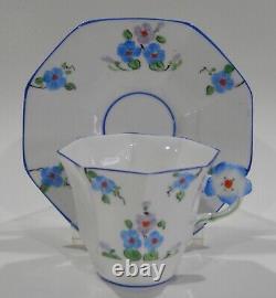 Rare MELBA England Hand Painted Art Deco FLOWER HANDLE Cup & Saucer